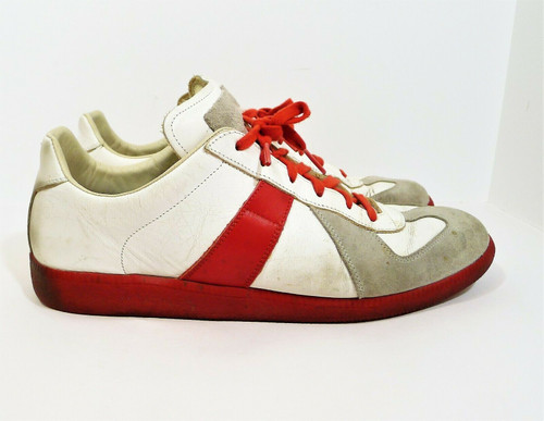 Mason Margiela White and Red Replica Low Top Tennis Shoes Size 45 (US 15)