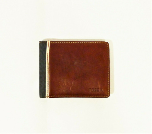 Fossil Men's Brown Elgin Leather Bifold Flip ID 8 Card Slot Wallet ML3309200