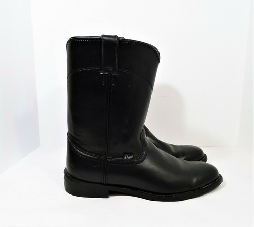 Justin Basics Men's Temple Black Leather Boots Size 9.5 EE Style JB3000