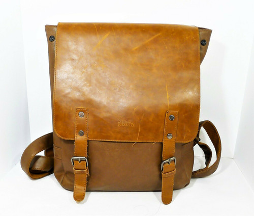 Zebella Brown Faux Leather Backpack
