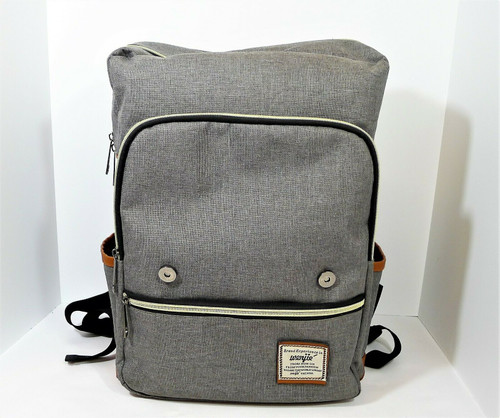 Wenjie Gray Canvas Laptop School Travel Backpack