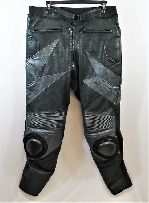 Men's Black and Gray Leather Knee Padded Motorcycle Pants Size 46