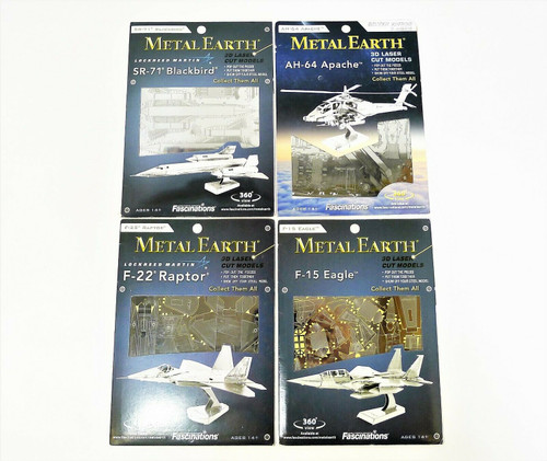 Set of 4 Metal Earth 3D Laser Cut Models - AH-64 Apache and More - NEW SEALED