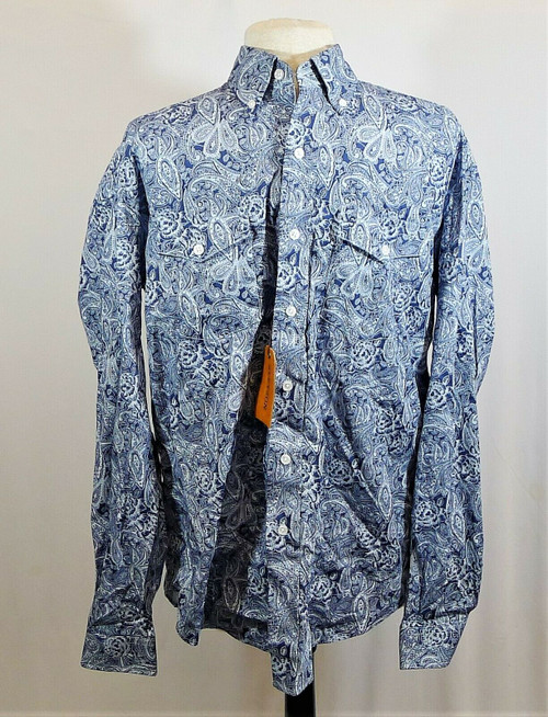 Stetson Men's Blue Flower/Paisley Print Long Sleeve Button Down Shirt Size M