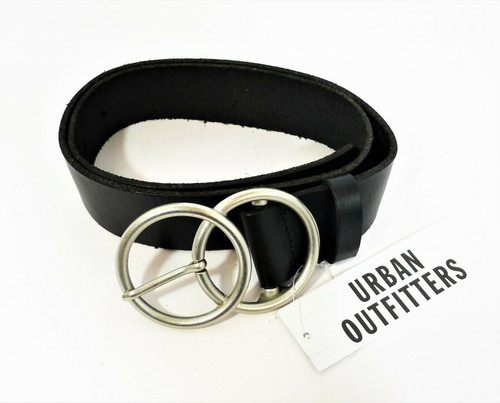 Urban Outfitters Double O Hardware Black Leather Belt Size S - NEW WITH TAGS