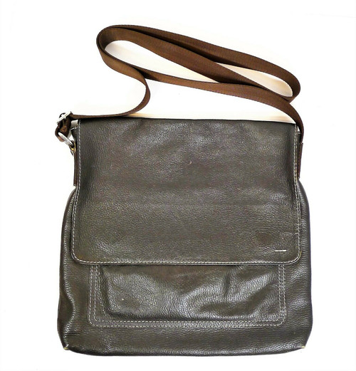 Adamis Brown Leather Messenger Bag Purse