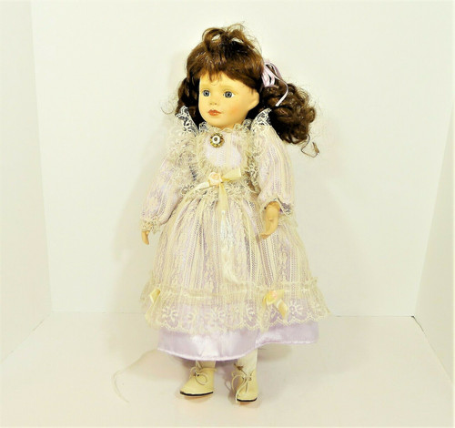 Unique Porcelain/Cloth Brown Haired Doll 1-5000 with Stand **SEE DESCRIPTION