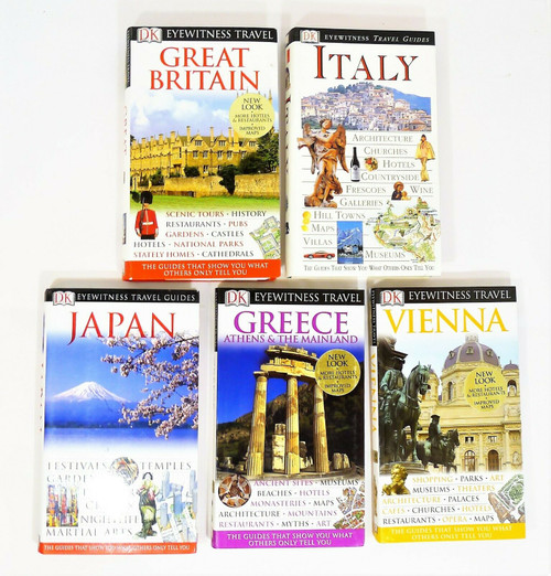 5 Eyewitness Travel Guides - Greece, Japan, Vienna, Italy and Great Britain
