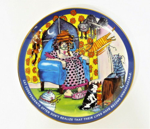 "Danbury Mint Unmanageable Cat Codependents 8"" Collector's Plate"
