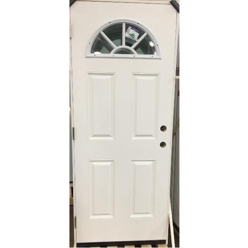 """2/8 (32"""" x 80"""")  Exterior Pre-Hung Panel Door-1/2 Moon"""