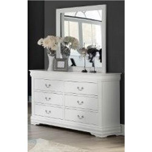 Louis Phillip White Dresser W Mirror (B3600-1 & 11) (Local Pkup Only)