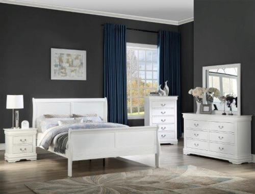 Louis Phillip White Bed (B3600) (Local Pkup Only)