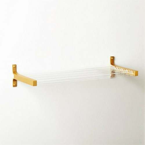 CB2 Cubo Acrylic & Brass 3-Bar Towel Rack 220-692