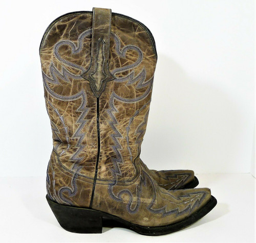 Lucchese Women's Gray Blue Norma Stitch Design Leather Boots M5720 Size 6 C