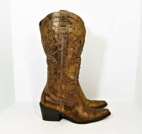 Carlos Santana Slinger Bronze Laser Cut Leather Western Boots Cowgirl Size 5.5 M