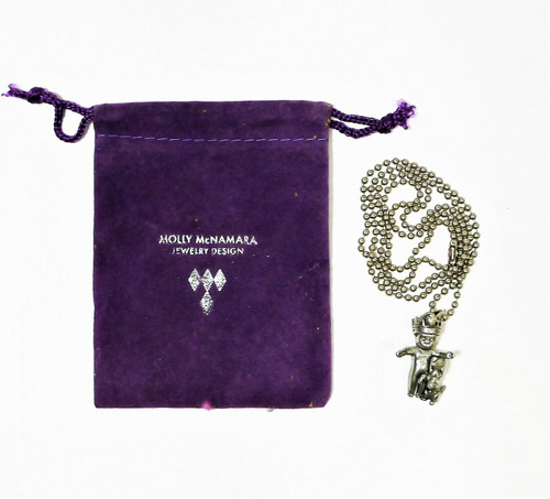 Molly McNamara Pewter King Cake Baby with Puppy Pendant and Metal Chain