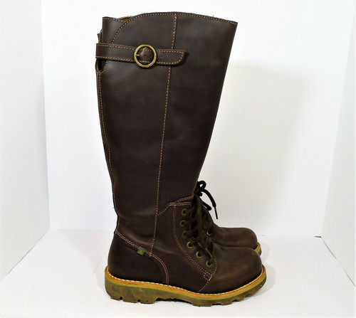 El Naturalista Women's Brown Leather Side Zip Knee High Boots Size 36 (US 6)