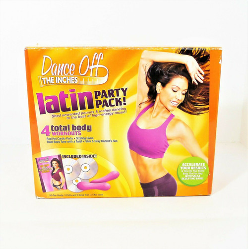 Dance Off the Inches Latin Party Pack - 3 DVD's and 2 Salsa Bars - OPEN BOX
