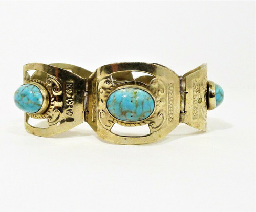 Silver Large Link Bracelet with Turquoise Colored Stones