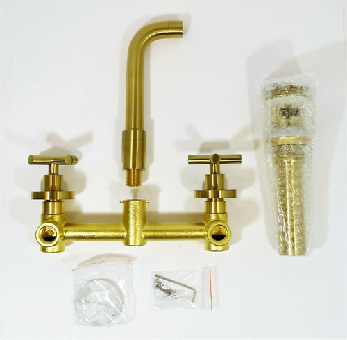 TRUSTMI 2-Handle Wall Mounted Bathroom Faucet w/ Pop Up Drain in Brushed Gold