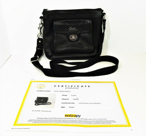 Coach Black Pebbled Leather Nylon Strap Crossbody Purse - COA by Entrupy