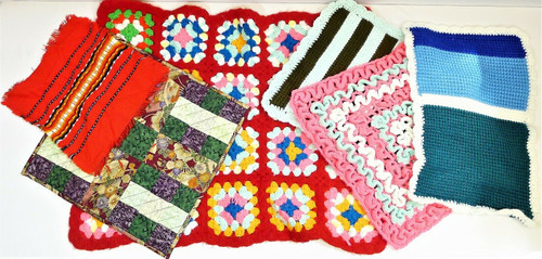 Set of 6 Assorted Sizes and Color Doll Blankets - Crochet and More