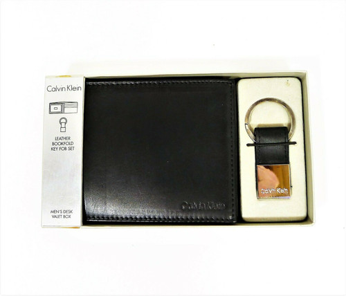 Calvin Klein Men's Black Leather Billfold Wallet Plus Key Fob