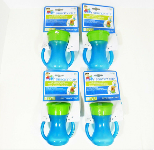 Set of 4 Evri Blue and Green Sippy Snacky Cup Built in Straw with Handles -NEW