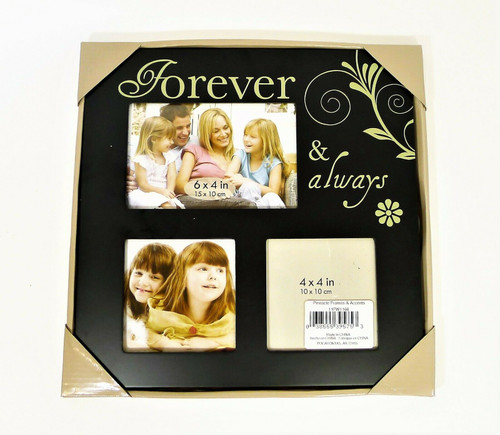 """Pinnacle Frames and Accents Black Forever and Always Wooden Frame 11"""" x 11""""  NEW"""