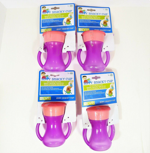 Set of 4 Evri Purple and Pink Sippy Snacky Cup Built in Straw with Handles -NEW
