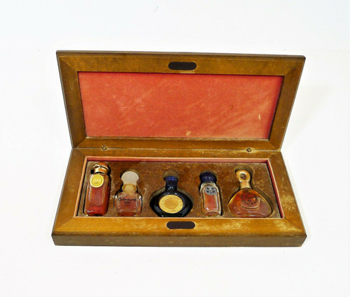 5 Vintage Paris Perfumes in a Wooden Box - Byzance, Givenchy, Van Cleef and More