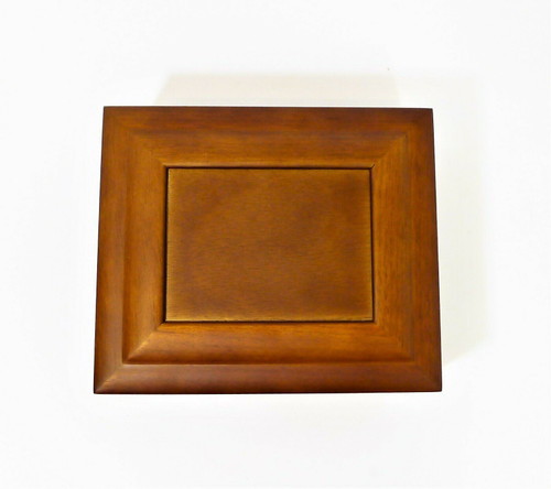 "Brown Wooden Jewelry Box Organizer 6.25"" W x 2.5"" T x 5.25"" D - NEW"