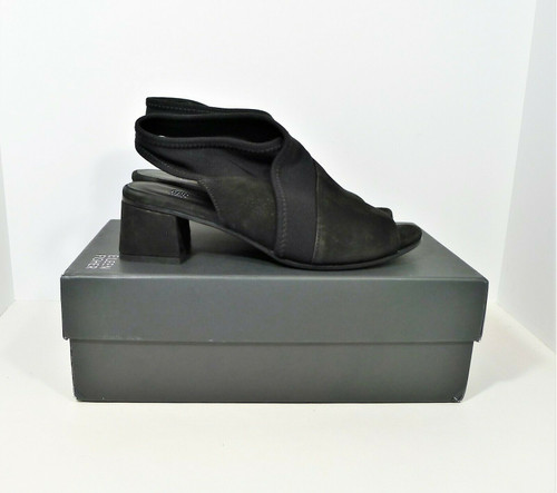 Eileen Fisher Black Luca Tumbled Nubuck Slingback Peep Toe Shoes Heels Size 7.5