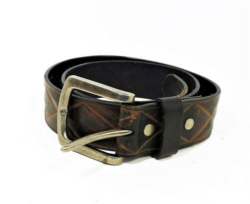 Levis Men's Distressed Brown Leather Diamond Deboss Belt Size Small 30-32