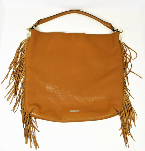 Rebecca Minkoff Almond Brown Pebbled Leather Fringed Purse Handbag