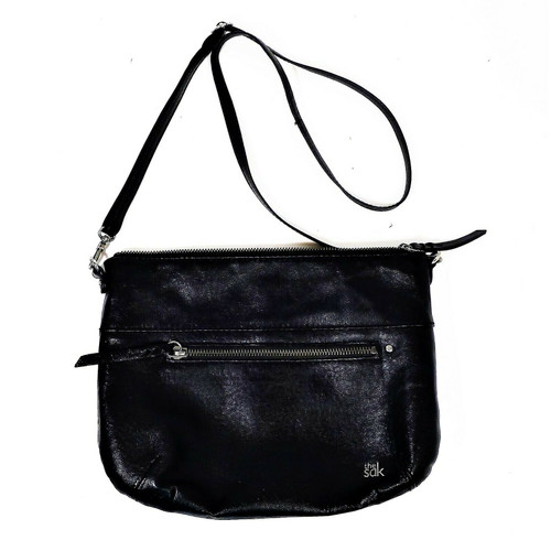 The Sak Black Leather Crossbody Purse Bag