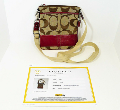 Coach Khaki Signature Red Patent Leather Crossbody Swingpack - COA by Entrupy