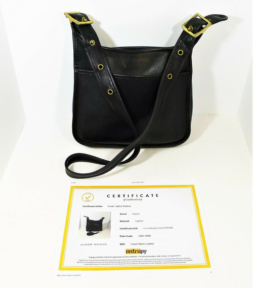 Vintage Coach Black Leather Legacy Zip Hobo Crossbody Bag - COA by Entrupy