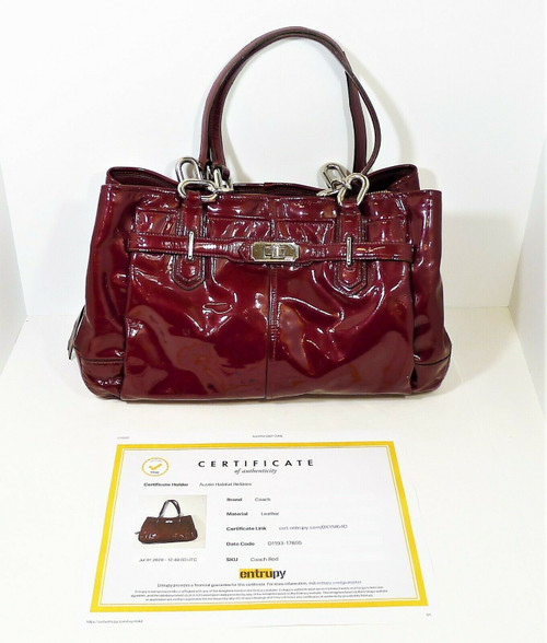 Coach Red Wine Chelsea Patent Leather Purse - COA by Entrupy - *SEE DESCRIPTION
