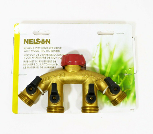 Nelson Industrial 4 Brass 4-Way Shut-Off Valve with Mounting Hardware 50546 NEW