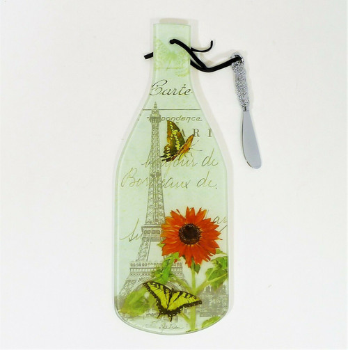 Counter Art Wine Bottle Cheese Server with Spreader Paris Sunflower Postcard NEW