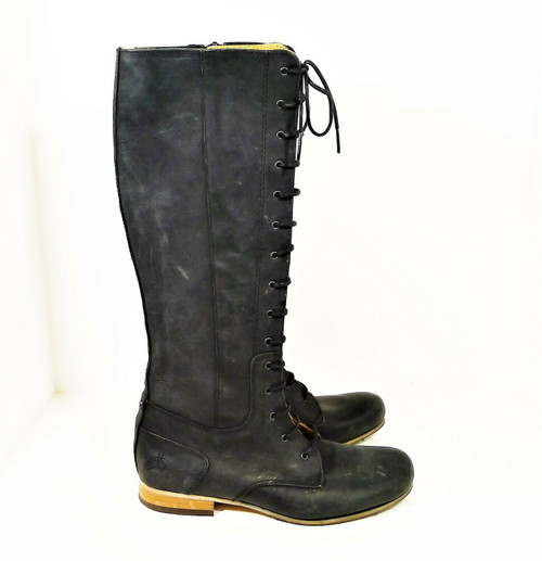 John Fluevog Women's Black Lace Up Side Zip Knee High Boots Size 6.5