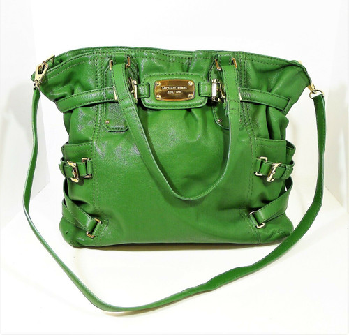 Michael Kors Green Large Leather Purse Shoulder Bag w/ Removable Shoulder Strap