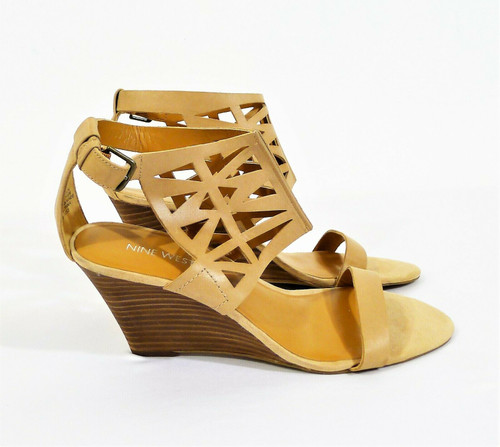 Nine West Tan Federica Leather Cut Out Wedge Sandal Heels Size 8.5 M