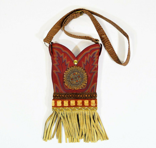 Handmade Red Leather Fringed Western Boot Purse Crossbody - **SEE DESCRIPTION