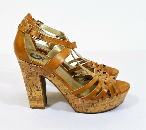 G by Guess Brown Strappy Peep Toe Platform Cork Heels Size 10M