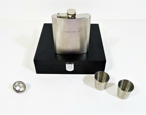 7 Oz. Stainless Steel Flask, Funnel and Shot Glasses Set in Black Wooden Box