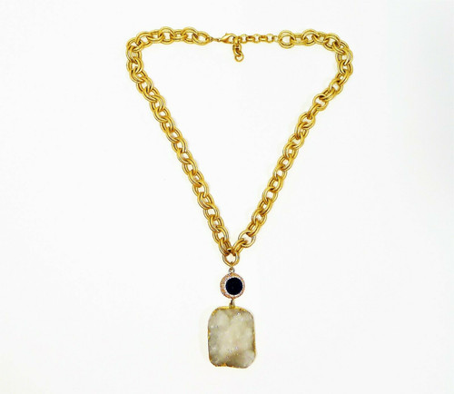 Multilink Goldtone Chain with Rhinestone Circle and Large Quartz Geode Pendant