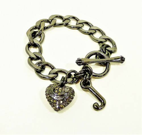 Juicy Couture Hematite Pave Heart Crystal Starter Charm Bracelet