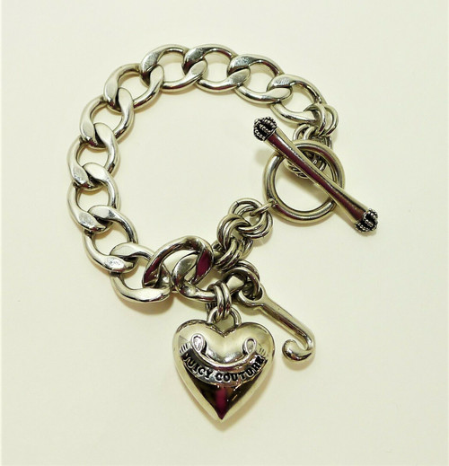 Juicy Couture Classic Silvertone Puff Heart Starter Charm Bracelet